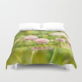 Pink chives flowering plant Duvet Cover