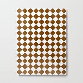 Diamonds - White and Chocolate Brown Metal Print