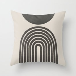 Mid Century Modern Beige and Black  Throw Pillow