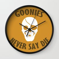the goonies Wall Clocks featuring Goonies Never Say Die by Christina