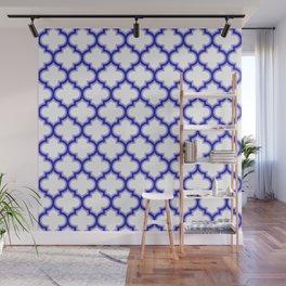 Moroccan Lattice, Oriental Pattern, seamless Morocco Design, blue, white Wall Mural