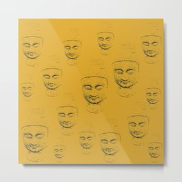 Buddha Faces Appear Through Yellow Canvas Art Metal Print