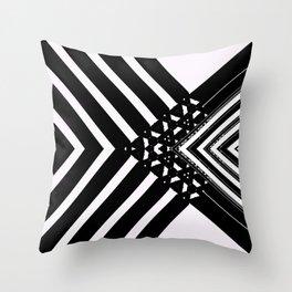 Modern Minimal Black White V Patten Throw Pillow