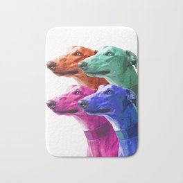 Greyhounds. Pop Art portrait. Bath Mat