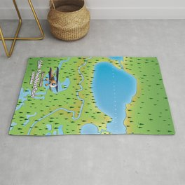Lake Pontchartrain Louisiana lake map. Rug