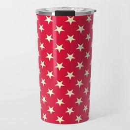 Cream Yellow on Crimson Red Stars Travel Mug