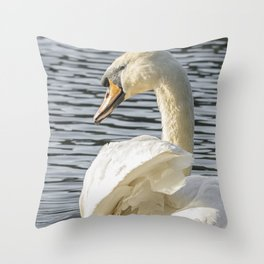 swan wildlife bird Throw Pillow