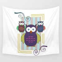 striped Wall Tapestries featuring Striped Owls by Adamzworld