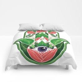 tropical hamsa Comforters
