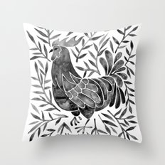 Le Coq – Watercolor Rooster with Black Leaves Throw Pillow