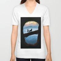 hunter V-neck T-shirts featuring Hunter by Tony Vazquez