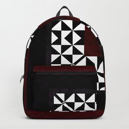 Ruby Red Marble w/ Blk & White Geometrica Pattern Insert Backpack