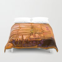 pirate ship Duvet Covers featuring pirate ship by Moonlight Creations