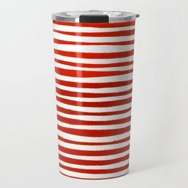 Waterline Pattern in Red Travel Mug