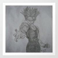 dragonball z Art Prints featuring Dragonball Z Trunks Sketch by bernardtime