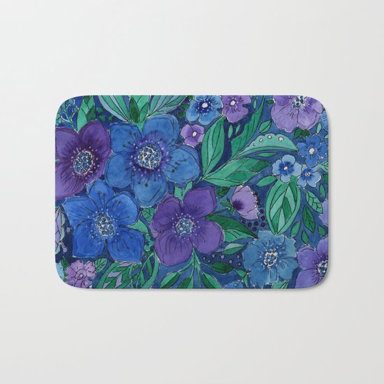 Watercolor . Blue flowers . Bath Mat