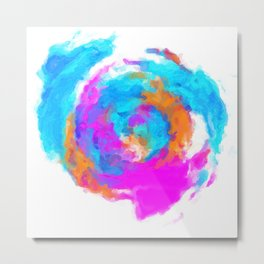 psychedelic splash painting abstract texture in blue pink orange Metal Print