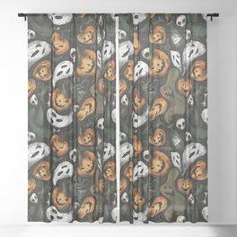 Vintage Halloween Sheer Curtain
