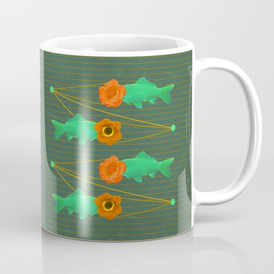 fishes and flowers color option Coffee Mug