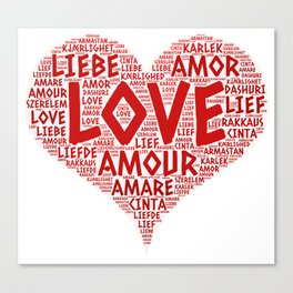 Heart illustrated with Love Word of different languages Canvas Print