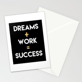 DREAMS PLUS WORK EQUALS SUCCESS Stationery Cards