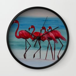 The 4 Flamingoes Wall Clock