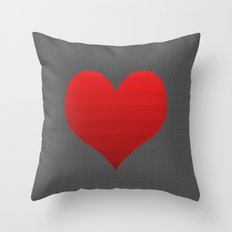Ombre Heart on Black Scribbles Throw Pillow