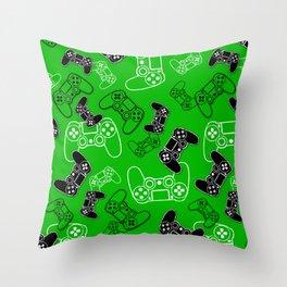 Video Games Green Throw Pillow