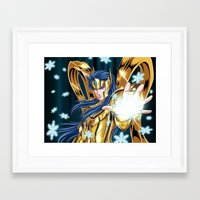 camus Framed Art Prints featuring Aquarius Camus-God Cloth by Studio Kawaii