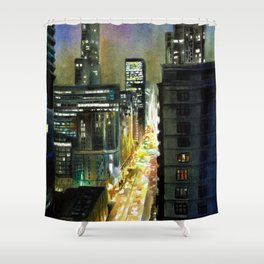 Chicago At Night Watercolor Painting Shower Curtain