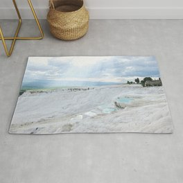 Hot Springs | Ancient Roman Baths Travertine Teal Water Mountain Landscape Photograph Majestic Sky Rug