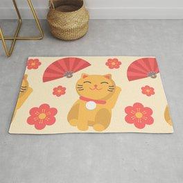 Japanese Lucky Cat Fan Flower Pattern Cute Rug