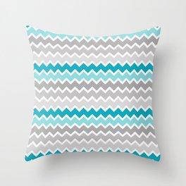Turquoise Teal Blue Gray Chevron Throw Pillow