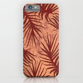 Red-brown leaves on a mottled background. iPhone Case