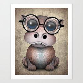 Cute Nerdy Baby Hippo Wearing Glasses Art Print