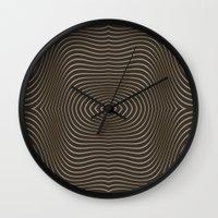 tree rings Wall Clocks featuring Tree Rings by Morgan Bajardi