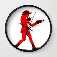 boxing Wall Clocks featuring Boxing 2 by Rachel E. Morris
