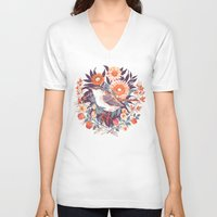floral V-neck T-shirts featuring Wren Day by Teagan White