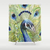 peacock Shower Curtains featuring Peacock by Olechka