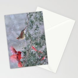 Cardinals Jostling on a Branch in a Snow Storm Stationery Cards
