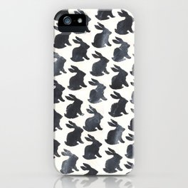 Rabbit Chalkboard Pattern by Robayre iPhone Case