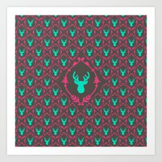 Oh Deer (teal dark) Art Print