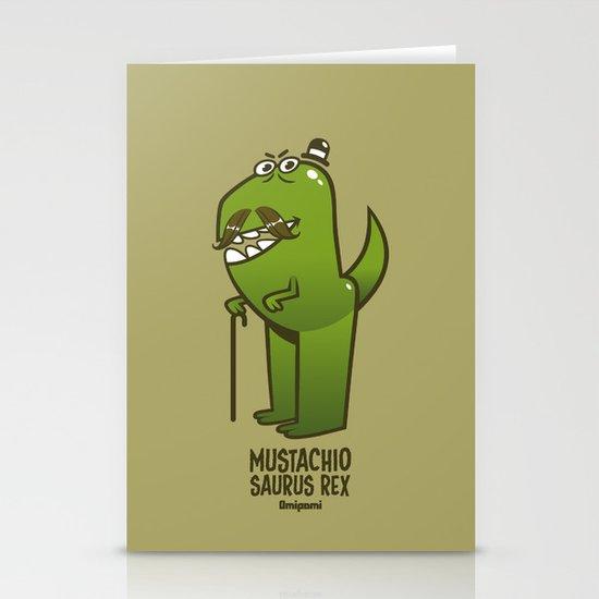 Mustachio Saurus Rex Stationery Cards