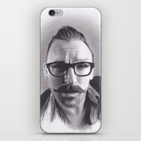 robert farkas iPhone & iPod Skins featuring Realism Charcoal Drawing of Artist Damon Lucas Farkas by Brittni DeWeese