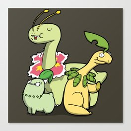 Pokémon - Number 152, 153 & 154 Canvas Print