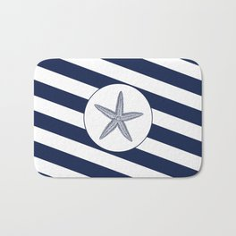 Nautical Starfish Navy Blue & White Stripes Beach Bath Mat