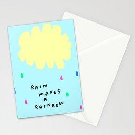 Rain Makes A Rainbow - pastel colorful illustration nursery kids room art Stationery Cards