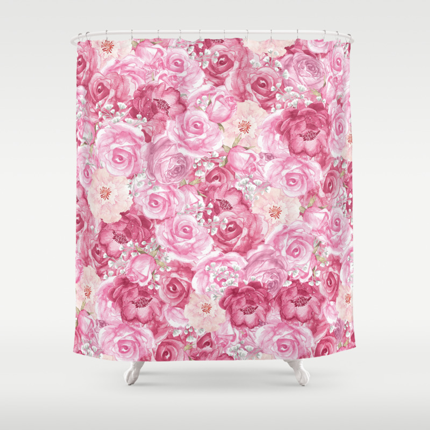 Hand Painted White Blush Pink Coral Floral Shower Curtain By Pink Water Society6