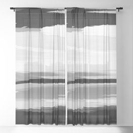 Soft Determination Black & White Sheer Curtain