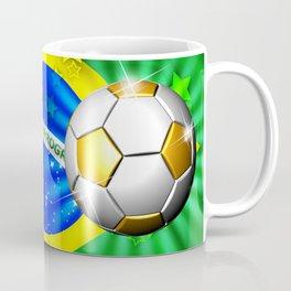 Brazil Flag Gold Green and Soccer Ball Coffee Mug